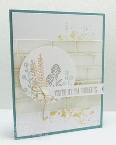 handmade sympathy card ... light colors ... brick wall embossing folder texture ... luv the look of line art flowers inked in different colors and slightly overlapped ... Stampin' Up!