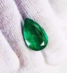 6.28 Ct  Fine Natural Emerald Pear Zambia UnTreated Loose GemStone #RareGemIN