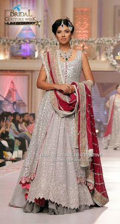 Pakistani bridal couture, Asifa and Nabeel, silver and red Pakistani Couture, Pakistani Bridal Dresses, Indian Bridal Wear, Indian Couture, Pakistani Outfits, Indian Dresses, Indian Outfits, Indian Wear, Ethnic Fashion