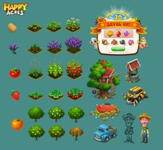 ArtStation - Art of Happy Acres, 东东 梁 Isometric Art, Isometric Design, Forest Art, Magical Forest, Game Ui Design, Design Art, Freak Games, Creating Games, Farm Games