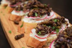 Pickled Silk Worms & Olive Chèvre Toasts with Mint from CuliNex