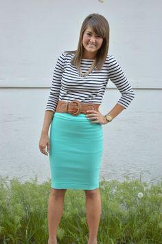 stripes + mint skirt belted!