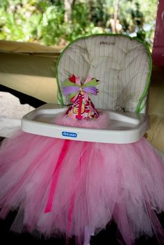 Birthday high chair!  I already have the tulle!  Thanks for the sweet idea, Aunt Meggy!!  :)