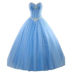 Women's Sweetheart Ball Gown Organza Quinceanera Dresses With Beads... ($15) ❤ liked on Polyvore featuring dresses, beading dress, organza dress, blue sweetheart neckline dress, blue dress and sweetheart neckline dress