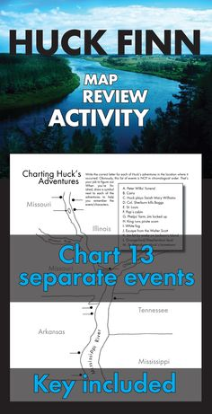 Great map review activity to use with Mark Twain's classic American novel, The Adventures of Huckleberry Finn