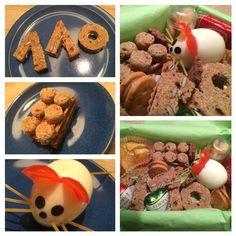 Lunch Box - 43 + 67 = 110 - Kürbiskernbrot in Form 110 / Klötzchen aus Kürbiskernbrot / Mäuschen aus Ei, Tomaten, Spaghetti, Noriblättern / dazu Knabbereien, Kekse, Schokolade