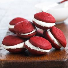 Red Velvet Whoopie Pie Dating from the 1920s, creamy filling mounded between two big puffy cookies became a phenomenon. This version of the recipe has big taste yet smaller size.