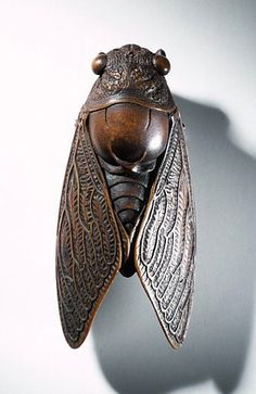 "[Carved wood netsuke in the form of a cicada, late 19th century, Japan (Via Vicky Nieto - ""JAPANESE Inro, Ojime, Netsuke"" board)] http://www.pinterest.com/vickyn27/japanese-inro-ojime-netsuke/"