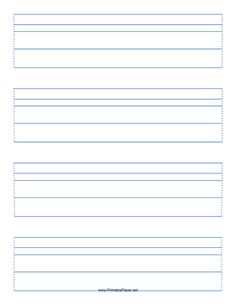 This Manuscript Paper features sets of blue guidelines spaced in a 3 : 2 : 5 : 5 ratio on letter-sized paper in portrait orientation. Free to download and print