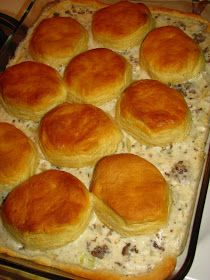 My all time favorite breakfast(next to pancakes).  Biscuit and Sausage Gravy Casserole
