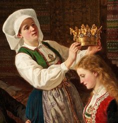 Wings of Whimsy: Adolph Tidemand - Brudepynting 1870 Detail Norwegian Wedding, Norse Pagan, Folk Costume, Costumes, Medieval Dress, Bridal Crown, Traditional Dresses, Costume Design, Norway