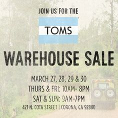 Toms Warehouse Sale - CA - March 2014 woot!! So excited! :)