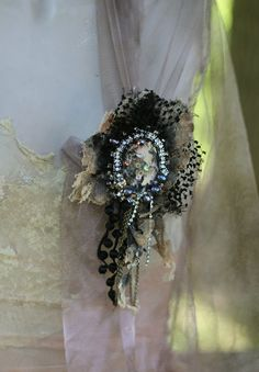The old poem brooch- antique lace, embroidered and beaded brooch, mixed media