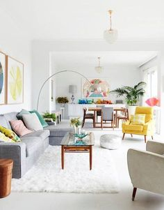 Colorful and bright living room [ PlankWood.com ] #room #plank #wood   bright pastel colorful abstract prints   colorful contemporary furniture   residential interior design ideas