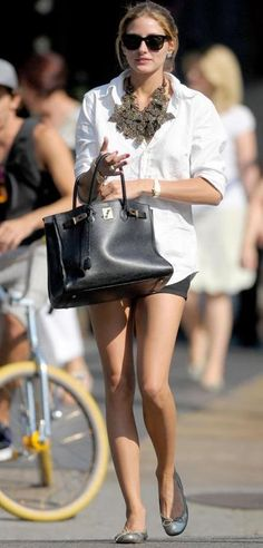 White button down shirt, shorts, stament necklace and black hermes birkin. Olivia Palermo does casual perfect