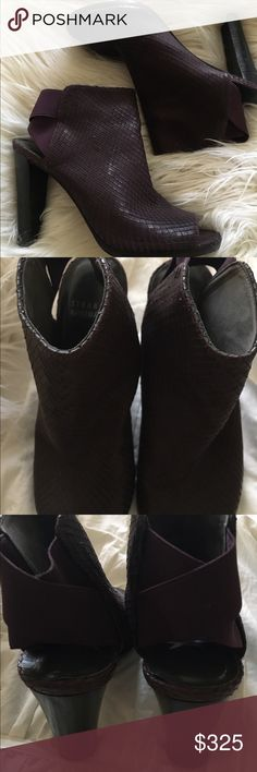 Stuart weitzman heels Absolutely gorgeous burgundy textured heels.  These shoe booties are absolutely amazing   Worn for about two hours total.  Like brand new!    If shoe lover-you need them! Stuart Weitzman Shoes Heeled Boots