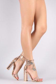 2e5b5bf277 Patent Trim Lucite Buckle Ankle Strap Chunky Heel Designer Clothing,  Designer Dresses, Ankle Strap