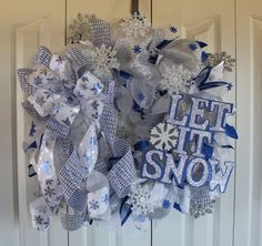 XL Deco Mesh Blue and silver Winter Wreath.Snowflake  wreath. Holiday wreath. Let it Snow winter wreath. Snowflake decor. by MadyBellaDesigns on Etsy