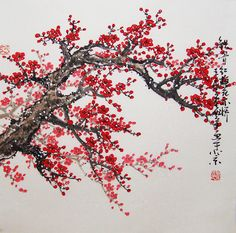 Original painting chinese art -Lovely cherry blossom tree No.15. $118,00, via Etsy.