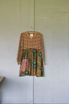 upcycled fall dress tunic refashioned clothing X Large 1 X Funky tunic earthy Boho dress Eco Artsy dress recycled by LillieNoraDryGoods