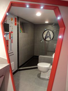 Let's see what's in the Star Trek toilet. | A Star Trek Fan Spent $30,000 Turning Her Basement Into The Starship Enterprise