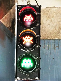 Space Invaders traffic light art