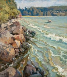 Rocks on the Shore - Helmie Biese 1919 Finnish Oil on canvas, cm. Helene Schjerfbeck, Landscape Mode, Beach Stones, Seascape Paintings, Natural World, Art World, Oil On Canvas, Street Art, Helmet