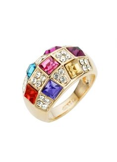 Attractive Ring Inlaid With Rainbow Colors Austria Crystals And Zircons #jewelry www.BlueRainbowDesign.com