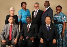 Members of the 2016-2020 Judicial Council. (From left) Front: Ruben T. Reyes, N. Oswald Tweh Sr., the Rev. Luan-Vu Tran. Back row: Deanell Reece Tacha, Lídia Romão Gulele, the Rev.Øyvind Helliesen, the Rev. Dennis Blackwell, and the Rev. J. Kabamba Kiboko. (Not pictured, Beth Capen) Photo by Kathleen Barry, United Methodist Communications.