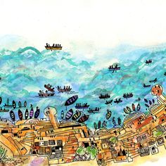 Satya'a Boat - Childrens book illustrations set in Benares/Varanasi India by 211 studio