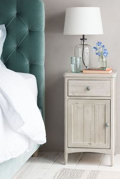 This bedside table hits all the spots with the chalky wash finish on the slightly roughened metal handles. A reclaimed wood dream, we think! Wooden Bedside Table, Wooden Tables, Recycled Furniture, Wooden Furniture, Bedroom Furniture, Velvet Headboard, Bedroom Cupboards, Drawer Design