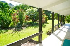 view of tropical garden from the veranda at Akirata