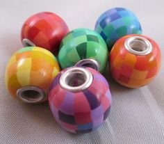 Rainbow Pixels Grommet Beads - a new use for my rainbow pixel canes!