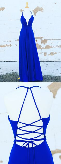 Royal Blue V neck Long Prom Dress, Sexy Open Back Evening Party Dress Cheap Pageant Dresses, Prom Girl Dresses, Prom Dresses 2018, Backless Prom Dresses, Formal Evening Dresses, Dresses Dresses, Social Dresses, Dresses 2014, Party Dresses