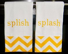 Monogrammed Hand Towels in Yellow and White Chevron on Etsy, $28.50