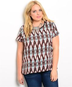 Plus Size Diamond Patterned Top