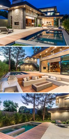 In this backyard, there's a swimming pool, outdoor dining area, kitchen, and a sunken lounge area surrounding a firepit, all perfect for entertaining.