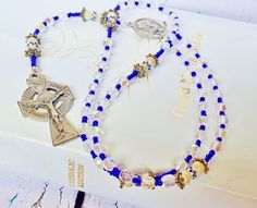$189.95 ~ Delicate, Traditional Catholic Celtic Rosary ~ Genuine Blue Sapphire & Sterling Silver 5 Decade Rosary ~ 45th Anniversary or Retirement Gift ~ Use discount code PIN10 for 10% off in my Etsy shop