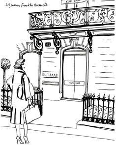 Drawn to the ELIE SAAB Paris Boutique.    43 Avenue Franklin Roosvelt, sketch by Helene Rajcak for L'Officiel Paris.