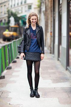 great leather. #ManuelaFrey #offduty in Paris.