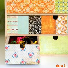 paper, mod podge and chest of drawers;