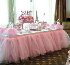 Tutu Tableskirt, Custom Tulle Table Skirt Wedding, Birthday, New Baby from Bailey Had A Party Fiesta Baby Shower, Baby Shower Themes, Shower Ideas, Shower Bebe, Girl Shower, Baby Shower Paris, Table Tulle, Shower Party, Bridal Shower