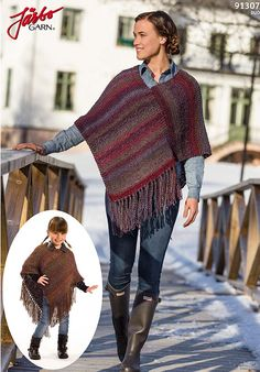 Ponchos for everyone! Poncho Shawl, Poncho Sweater, Knitted Poncho, Kids Poncho, Ladies Poncho, Crochet Capas, Knit Crochet, Patagonia Vest Outfit, Poncho Knitting Patterns