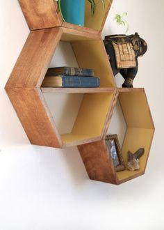 Geometric Wood Shelves Honeycomb Shelves by HaaseHandcraft
