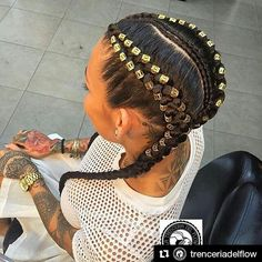 Braids By : @trenceriadelflow Feed-in conrows and cuffs