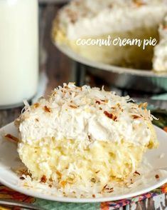 A delicious recipe for Coconut Cream Pie that has an amazing coconut pudding layer, cool whip layer and topped with toasted coconut shreds. Awesome dessert recipe!