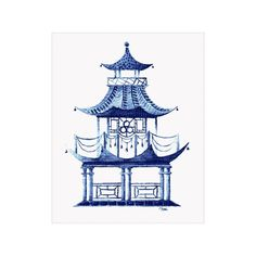 Blue Pagoda Watercolor Art Print by TheRemedyHouse on Etsy #pagoda https://www.etsy.com/listing/261997493/blue-pagoda-watercolor-art-print