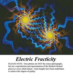 Electricity Fracticity, Fractal Counted Cross Stitch Pattern Artful Designs & Fractals Cross Stitch Pattern, Kit & Digital Download #pinterestcrossstitchpatterns #crossstitch #pinterestgifts