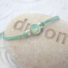 Lovely Swarovski bracelet - metallic mint waxcord & mint swarovski | NORR