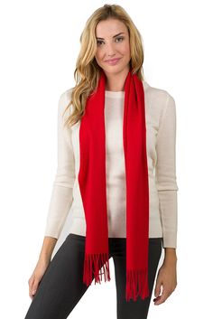 JENNIE LIU Unisex Watermark Cashmere Woven Scarf Cherry. 12 inches W x 62 inches L (68 inches with fringe). wool yarns wrapped in the warp with 100% cashmere yarns on the top weft, this scarf offers an 100% cashmere soft hand. Can be use all year round, great for dressing up any formal or casual outfit. designed with durability of wool and plushy soft hand of cashmere combined. precise raising technique used at the finishing process of this scarf raises only the cashmere fiber onto the…